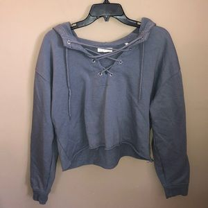 💖3/$10 LA hearts blue crop lace up sweatshirt